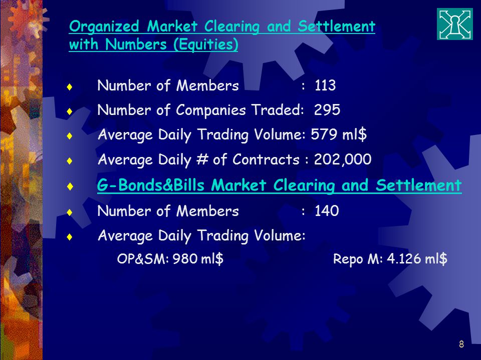 Organized Market Clearing and Settlement with Numbers (Equities)