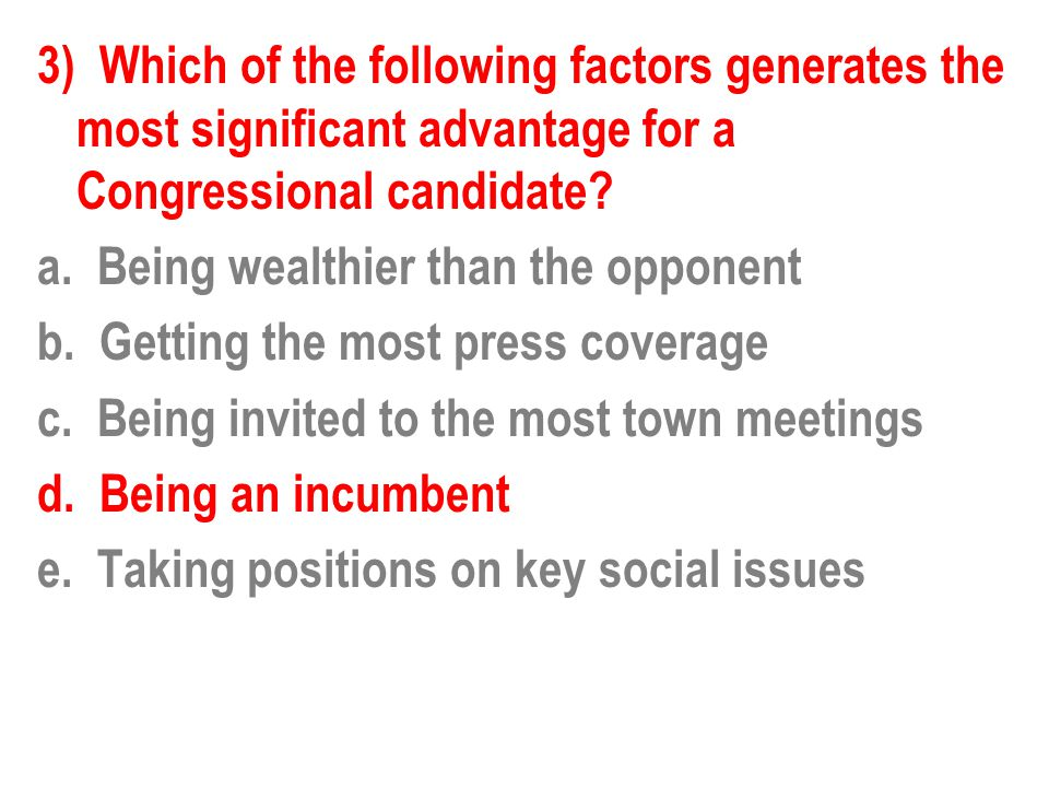 3) Which of the following factors generates the most significant advantage for a Congressional candidate.