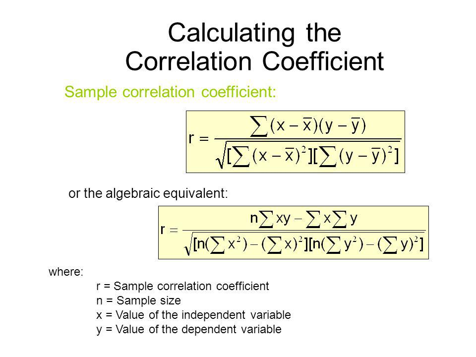 Calculating the Correlation Coefficient