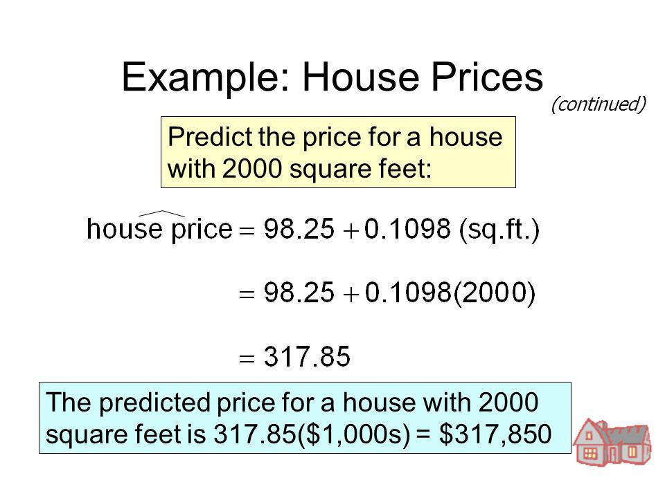 Introduction to linear regression and correlation analysis for Cost to build a 2000 square foot house
