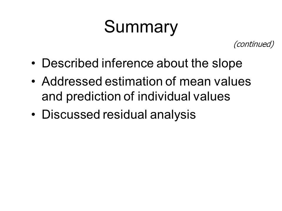 Summary Described inference about the slope