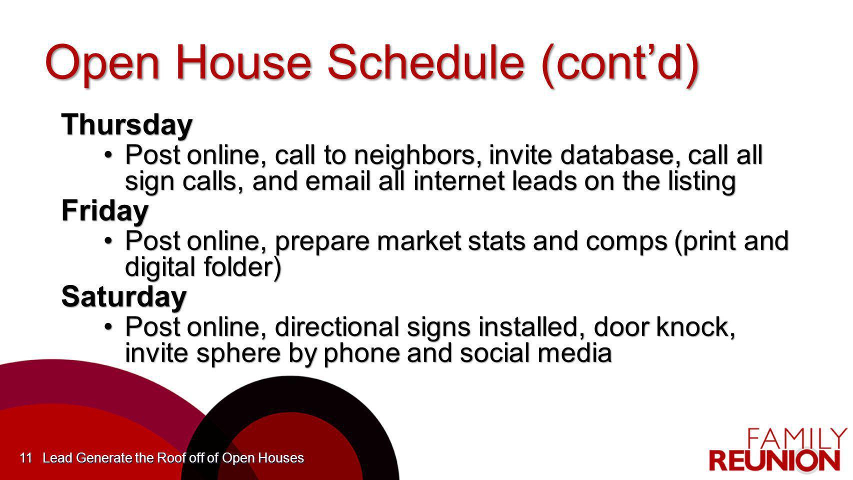 Open House Schedule (cont'd)