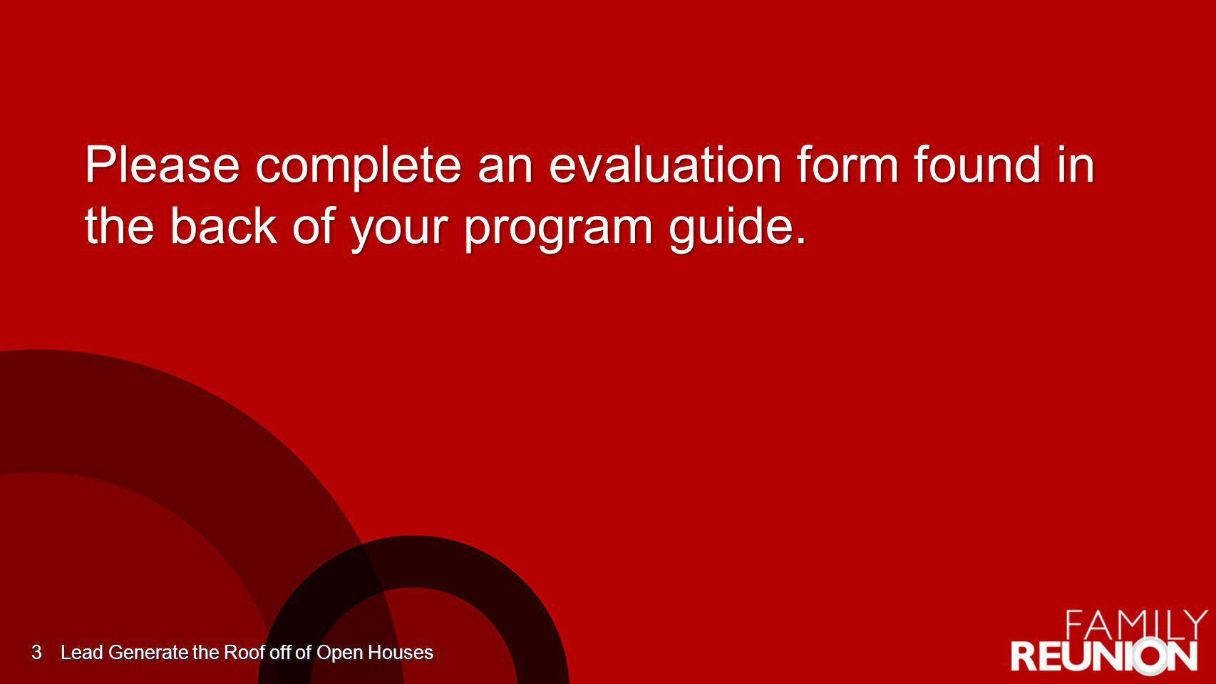 KWFR14 3/31/2017 6:29:16 PM. Please complete an evaluation form found in the back of your program guide.