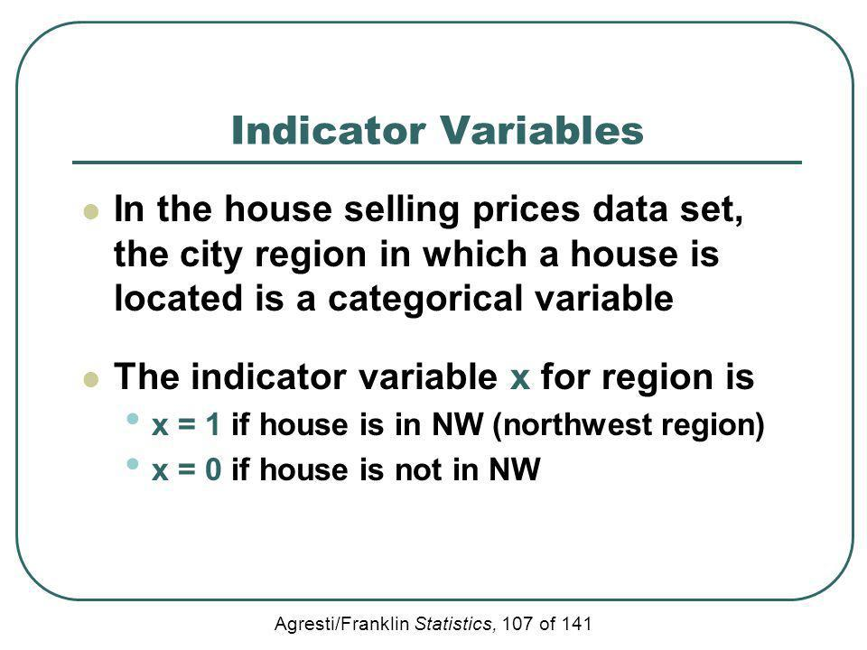 Indicator Variables In the house selling prices data set, the city region in which a house is located is a categorical variable.