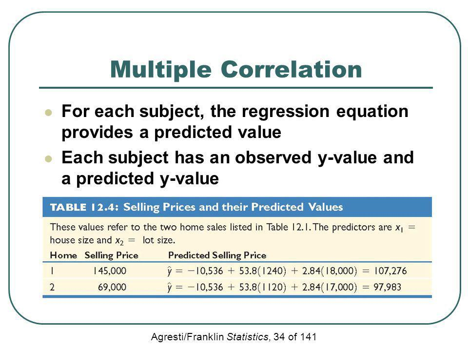 Multiple Correlation For each subject, the regression equation provides a predicted value.