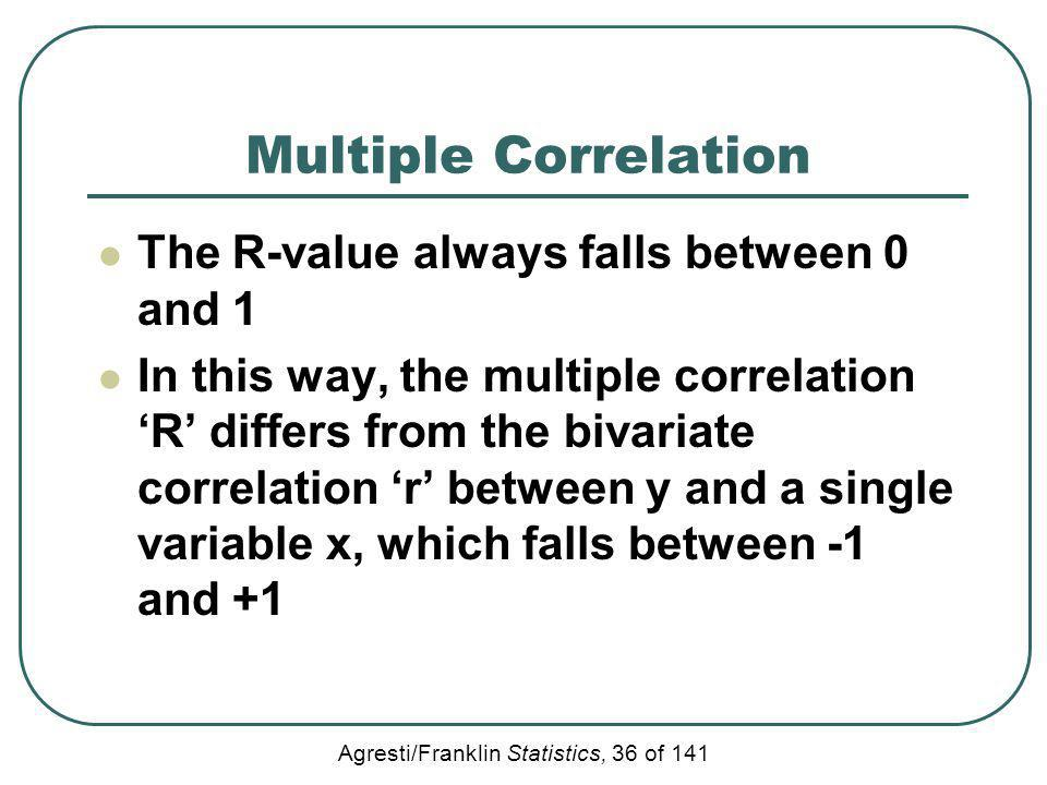 Multiple Correlation The R-value always falls between 0 and 1