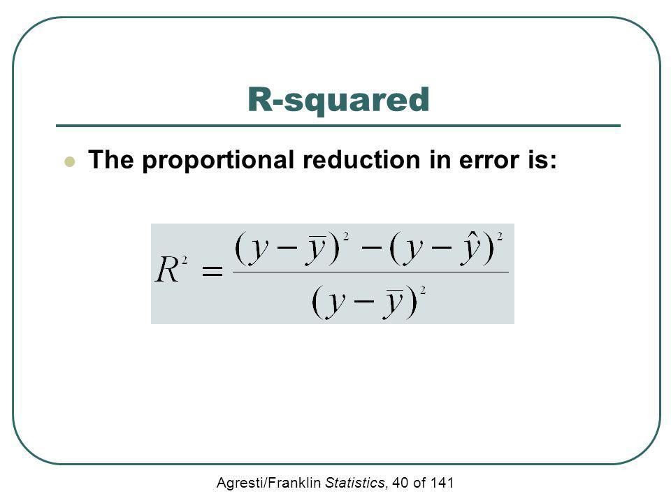 R-squared The proportional reduction in error is: