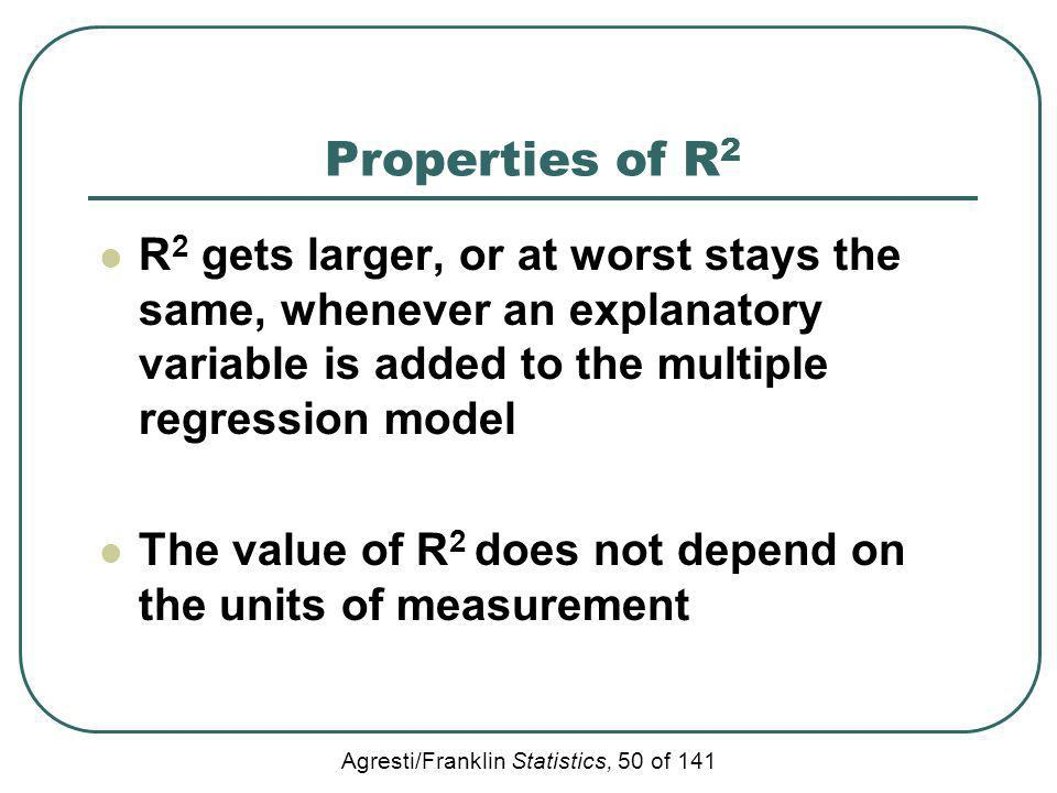 Properties of R2 R2 gets larger, or at worst stays the same, whenever an explanatory variable is added to the multiple regression model.