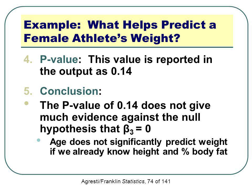 Example: What Helps Predict a Female Athlete's Weight