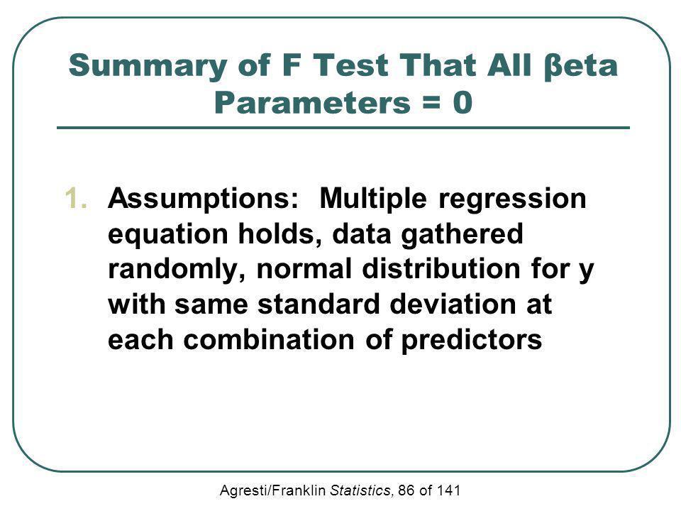 Summary of F Test That All βeta Parameters = 0