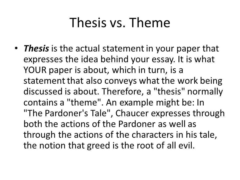 thesis for theme essay This type of essay is based on a particular question or theme  a thesis  statement is a brief claim, which is supposed to tell the readers your central  message.