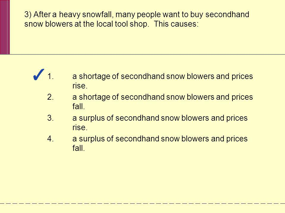 a shortage of secondhand snow blowers and prices rise.