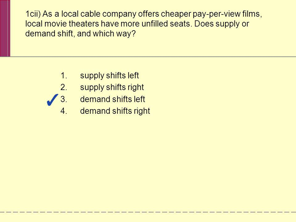 1cii) As a local cable company offers cheaper pay-per-view films, local movie theaters have more unfilled seats. Does supply or demand shift, and which way