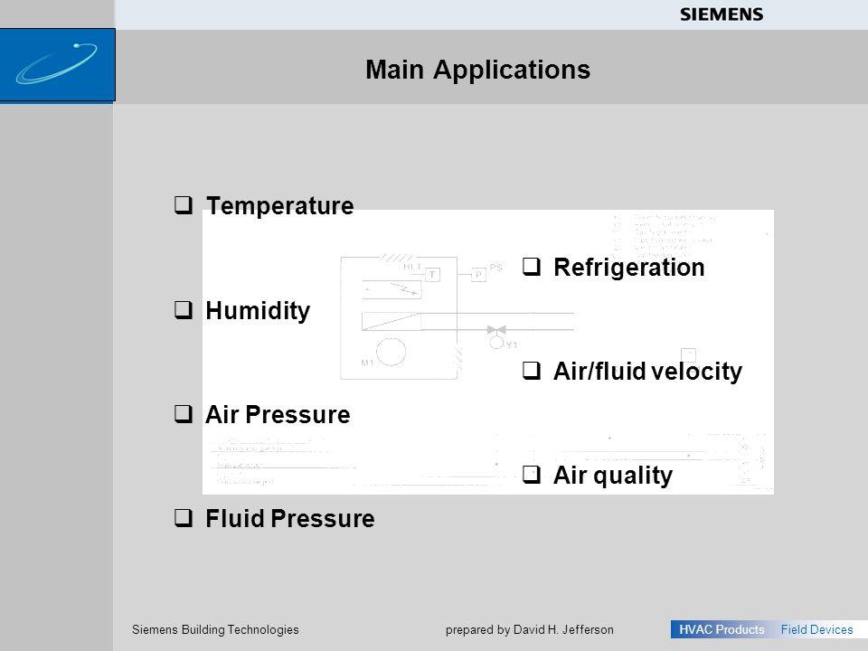 Main Applications Temperature Refrigeration Humidity