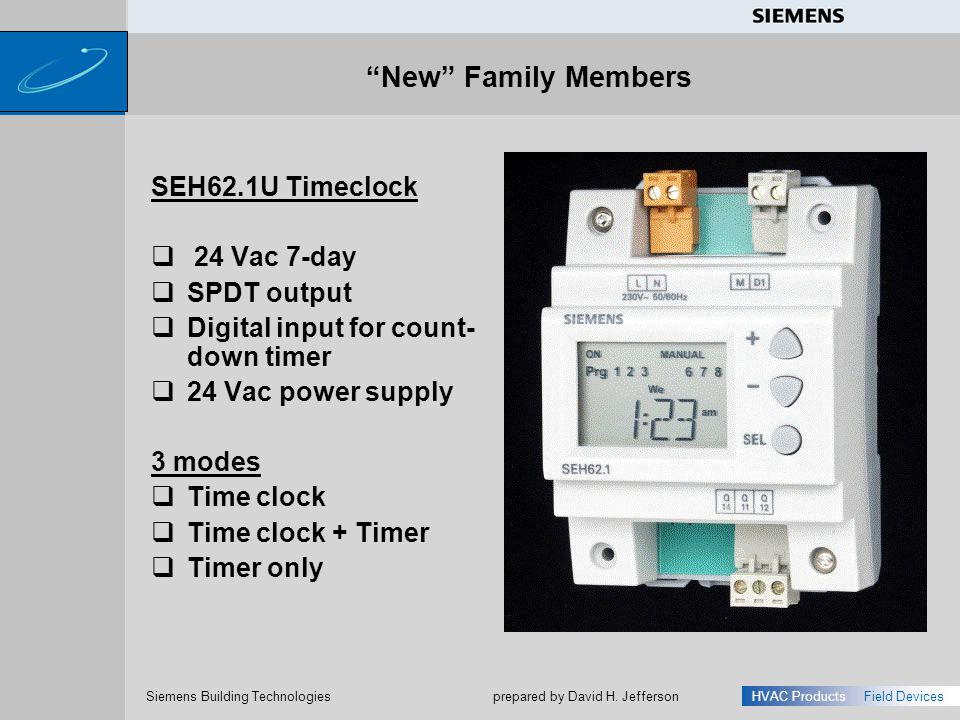 New Family Members SEH62.1U Timeclock 24 Vac 7-day SPDT output