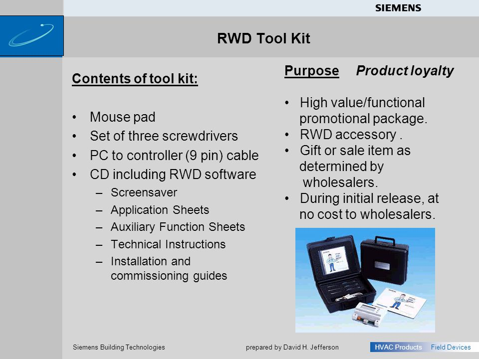 RWD Tool Kit Purpose Product loyalty Contents of tool kit: