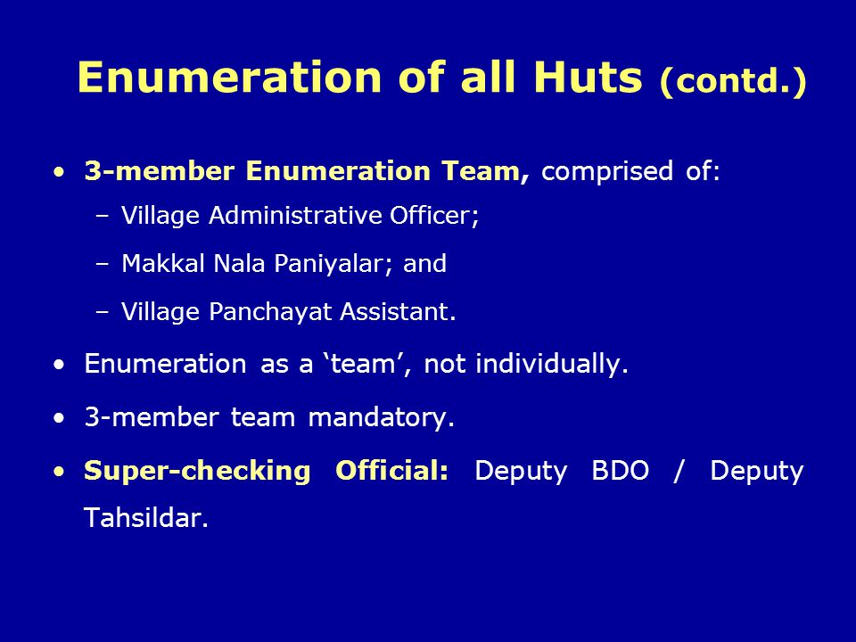 Enumeration of all Huts (contd.)
