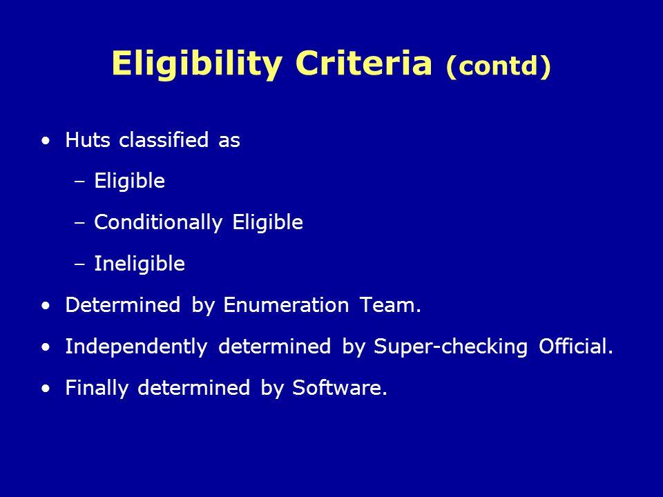 Eligibility Criteria (contd)