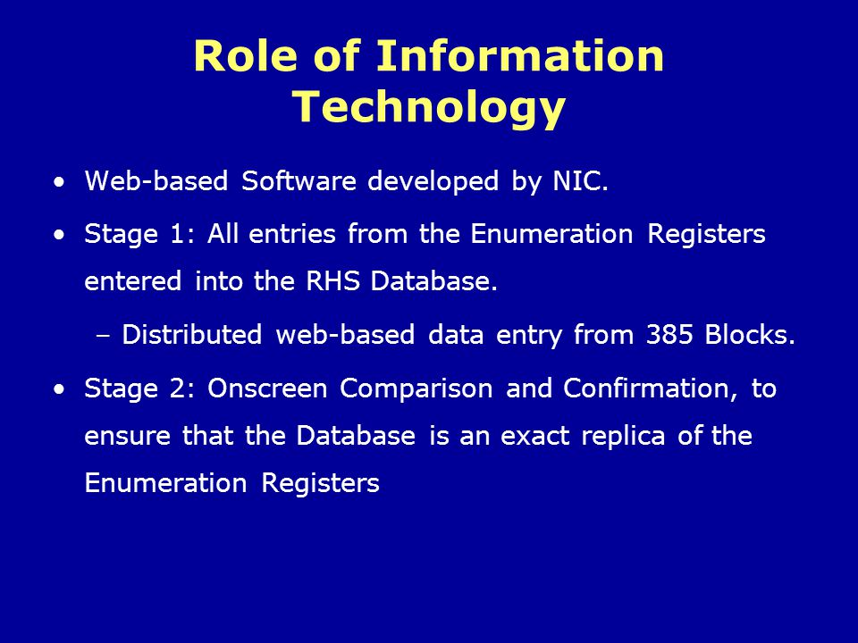 Role of Information Technology