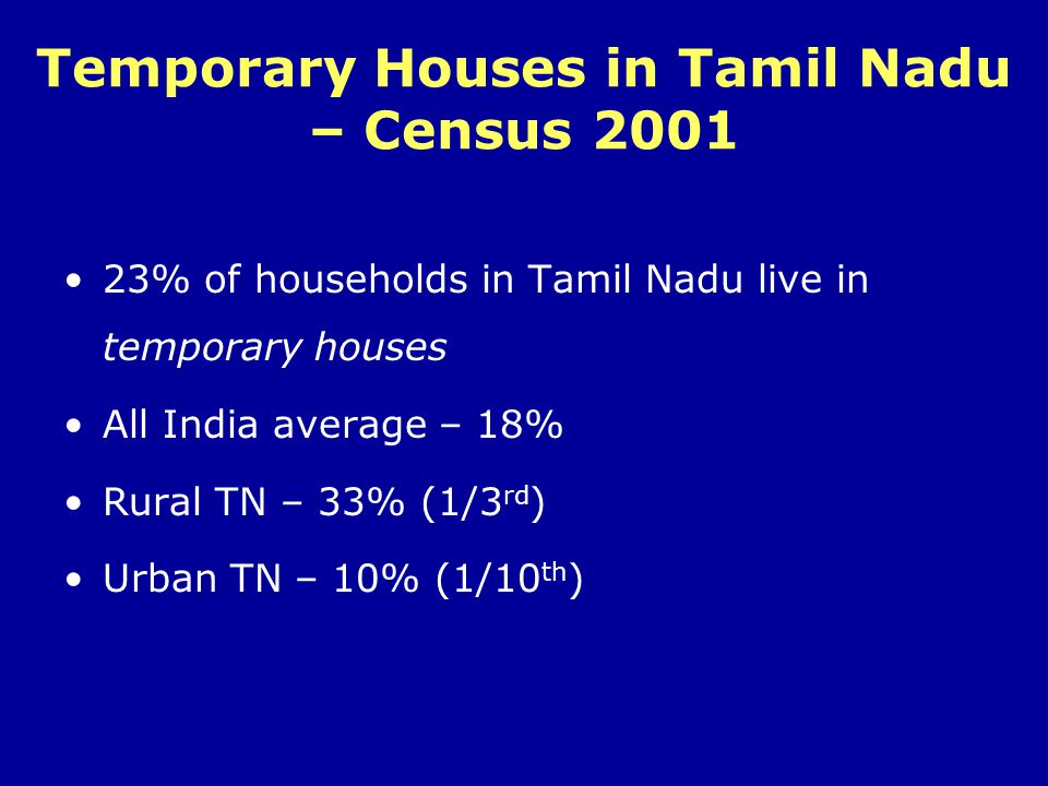 Temporary Houses in Tamil Nadu – Census 2001
