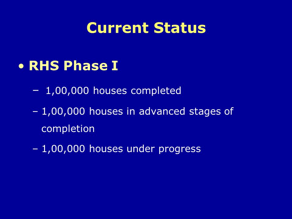 Current Status RHS Phase I 1,00,000 houses completed