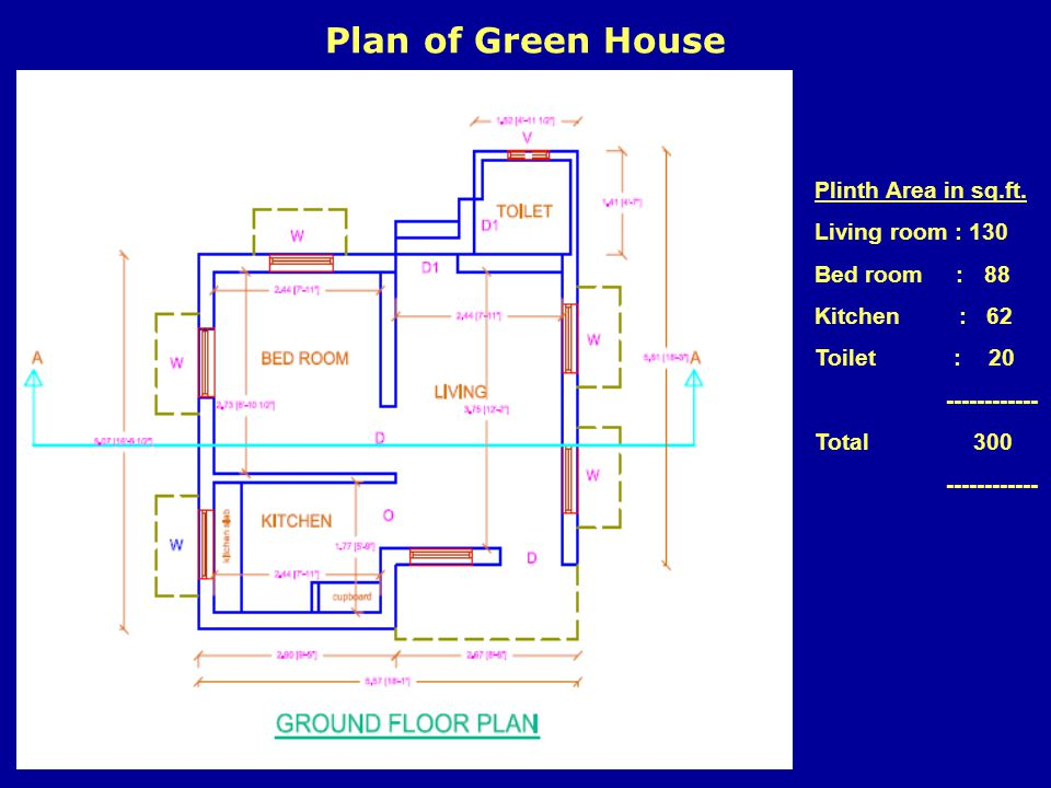 Plan of Green House Plinth Area in sq.ft. Living room : 130