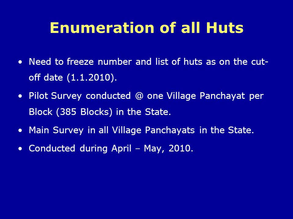 Enumeration of all Huts