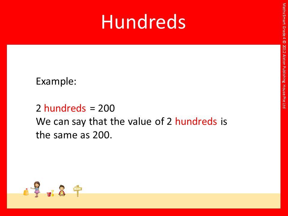 Hundreds Example: 2 hundreds = 200