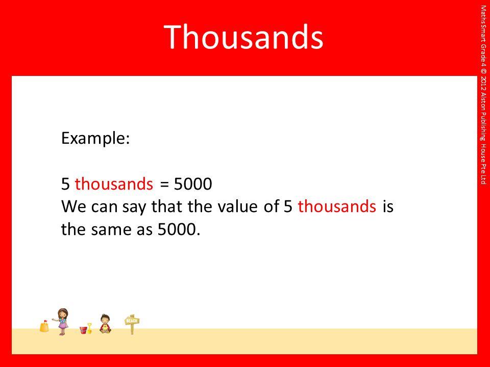 Thousands Example: 5 thousands = 5000