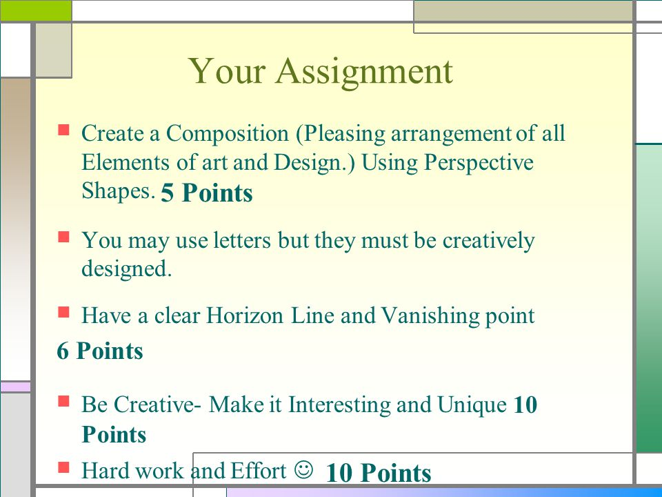 Your Assignment 6 Points