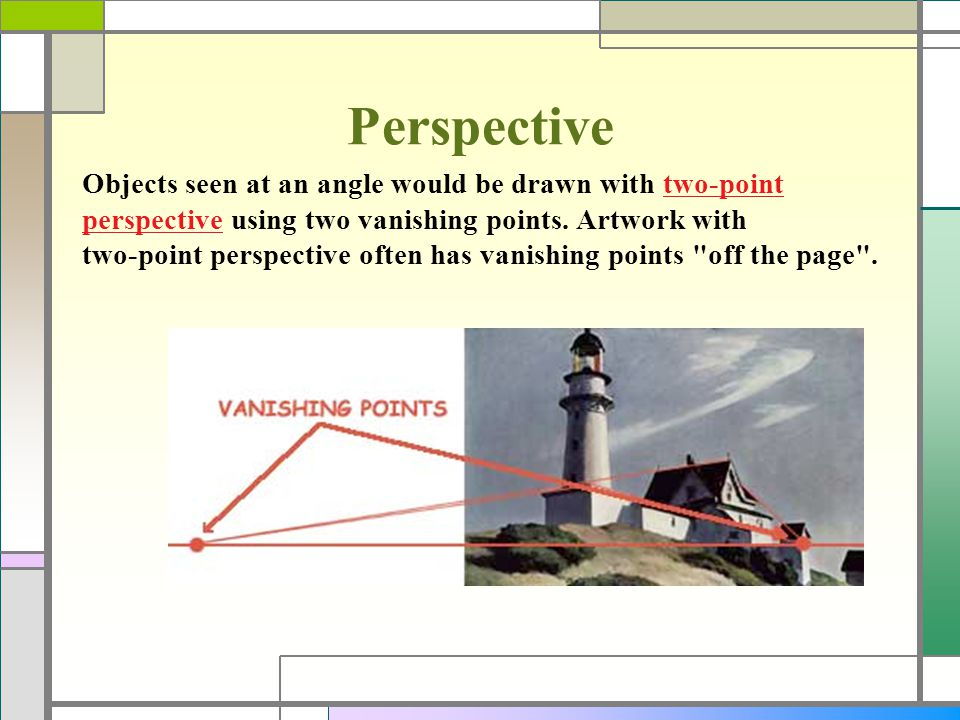 Perspective Objects seen at an angle would be drawn with two-point