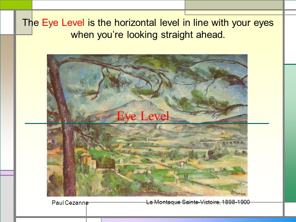 The Eye Level is the horizontal level in line with your eyes when you're looking straight ahead.