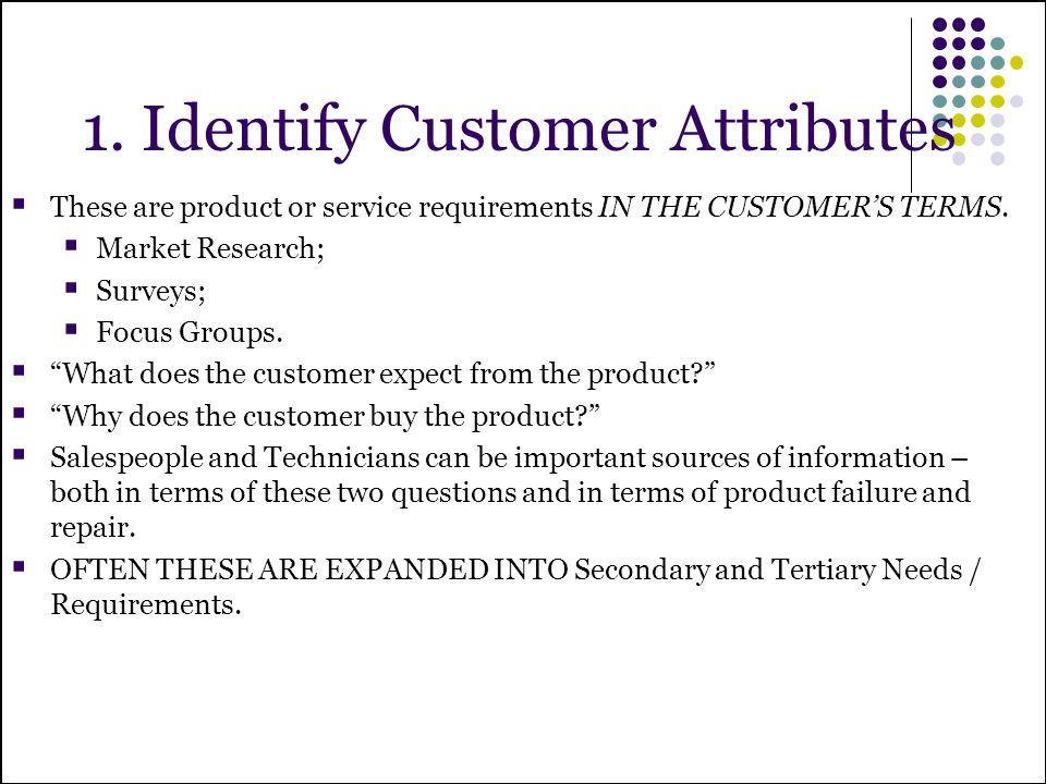 1. Identify Customer Attributes