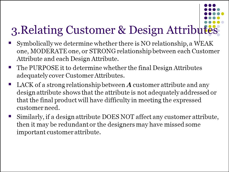 3.Relating Customer & Design Attributes
