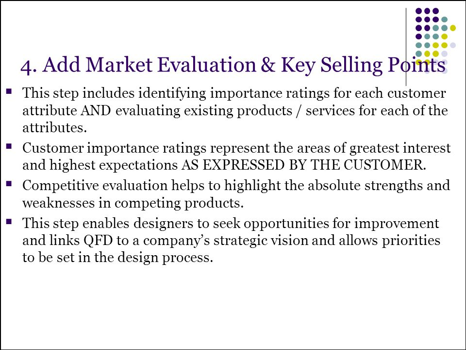 4. Add Market Evaluation & Key Selling Points