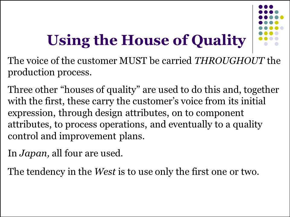 Using the House of Quality