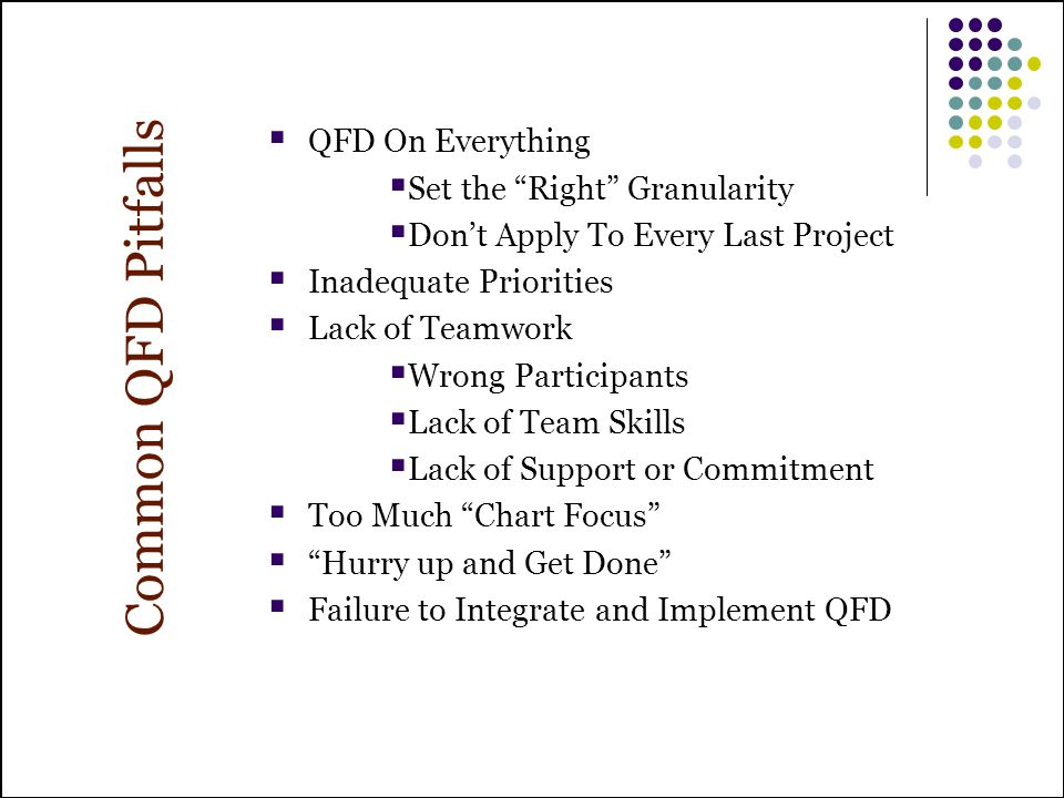 Common QFD Pitfalls QFD On Everything Set the Right Granularity