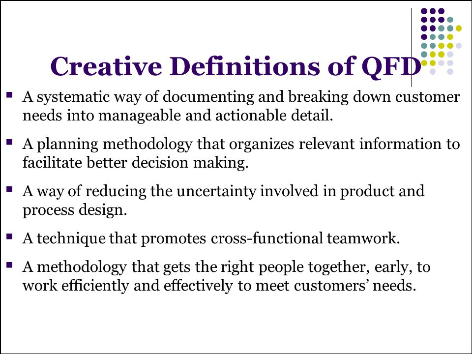 Creative Definitions of QFD