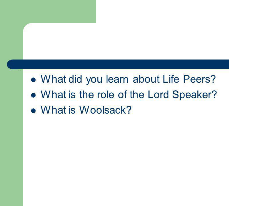 What did you learn about Life Peers