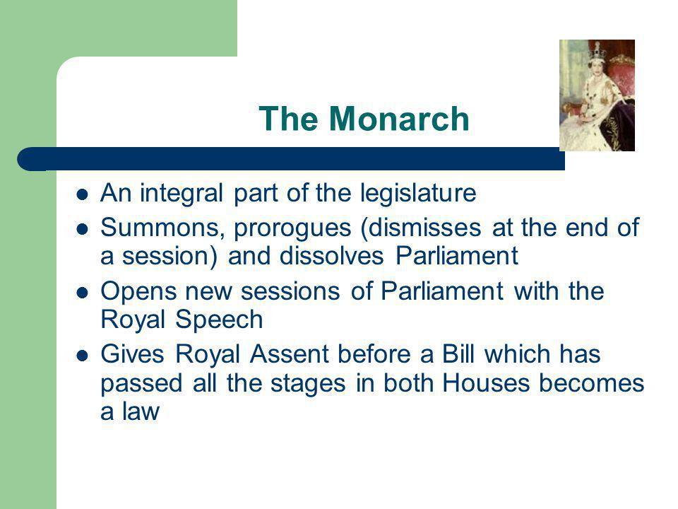 The Monarch An integral part of the legislature