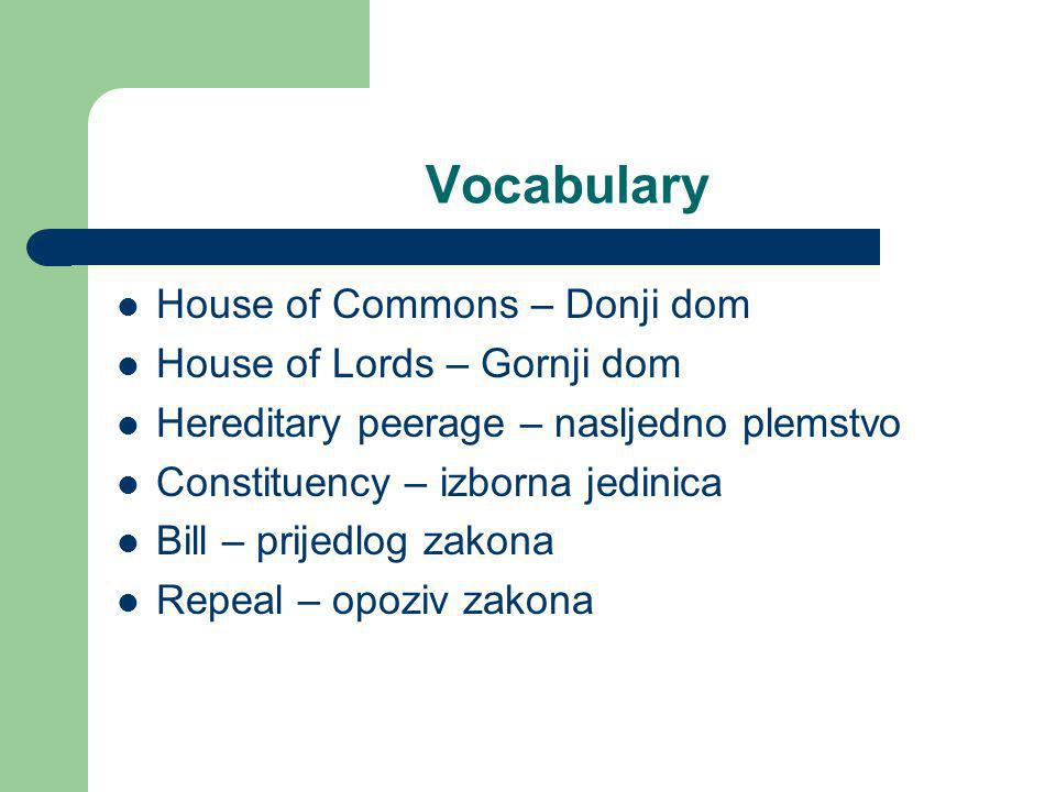 Vocabulary House of Commons – Donji dom House of Lords – Gornji dom