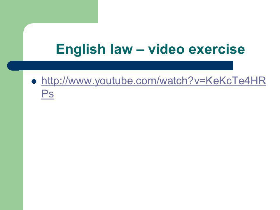 English law – video exercise