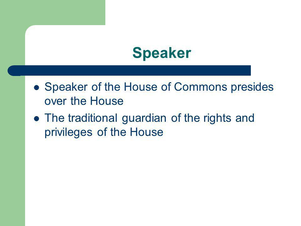 Speaker Speaker of the House of Commons presides over the House