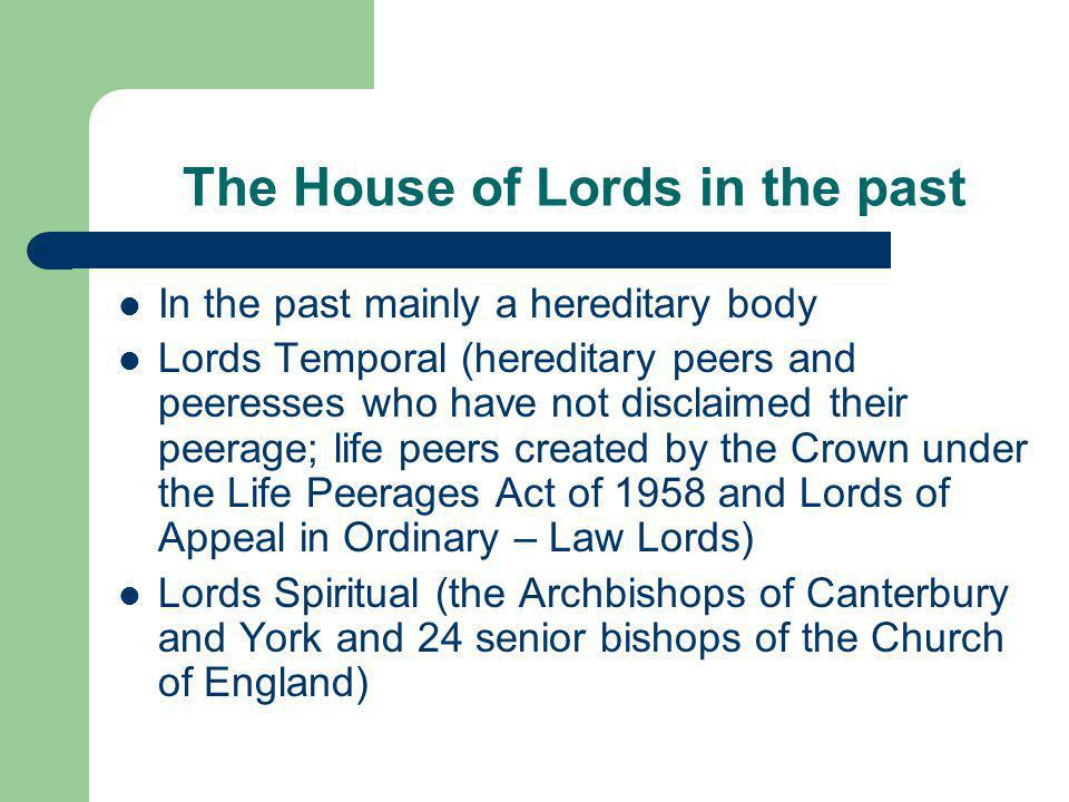 The House of Lords in the past