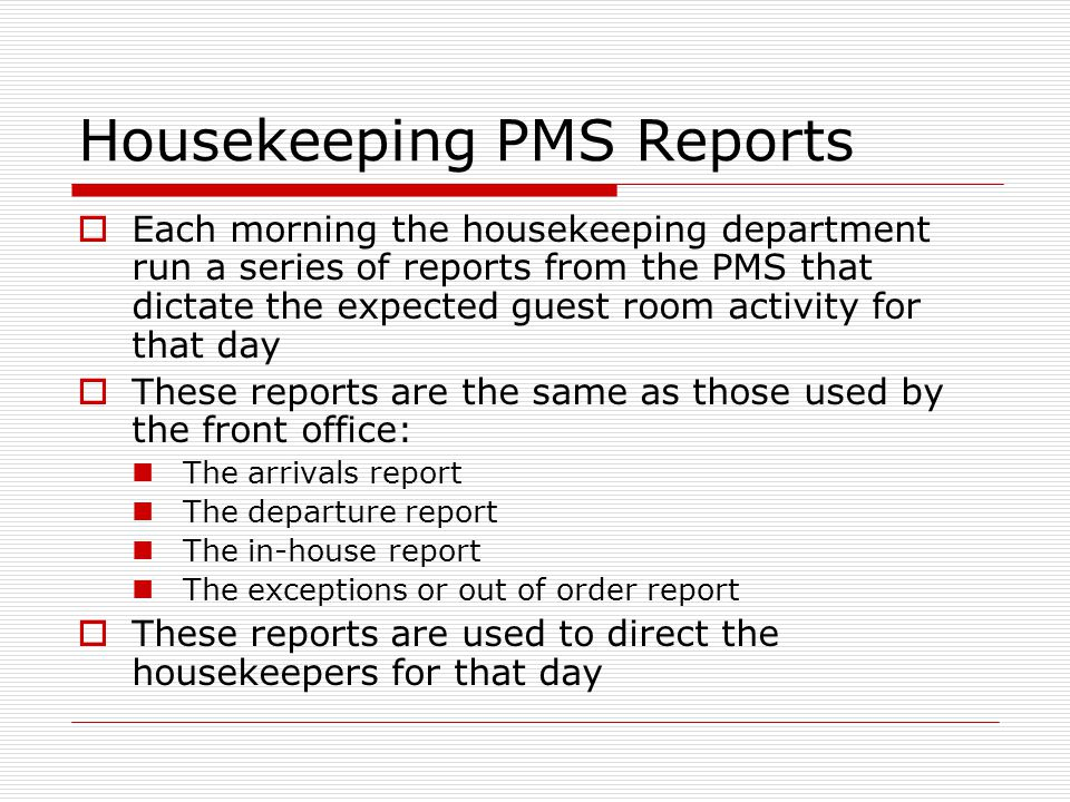 Housekeeping PMS Reports