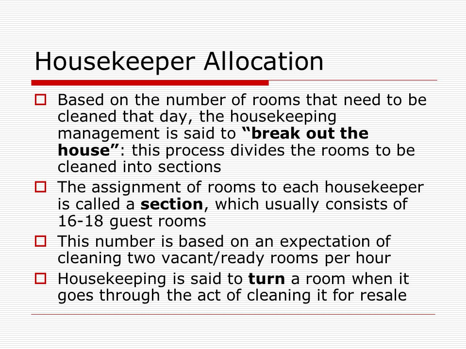 Housekeeper Allocation