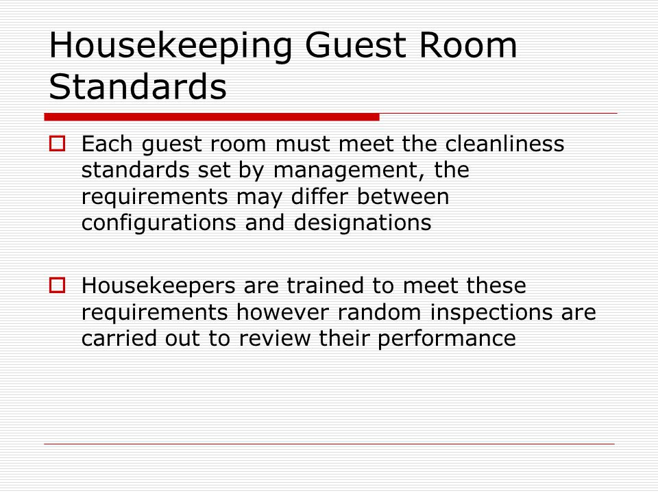 Housekeeping Guest Room Standards