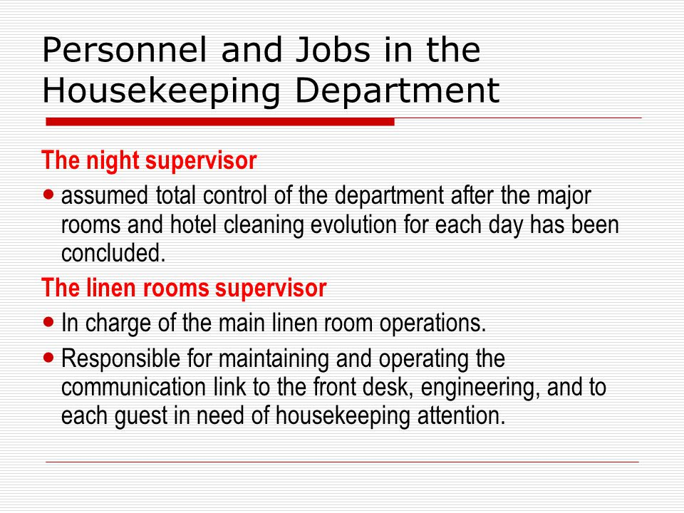 5 major problems that occurs in the housekeeping department House keeping is a major issue when it comes to safety in the workplace the importance of house keeping (whether due to hygiene or other safety issues.