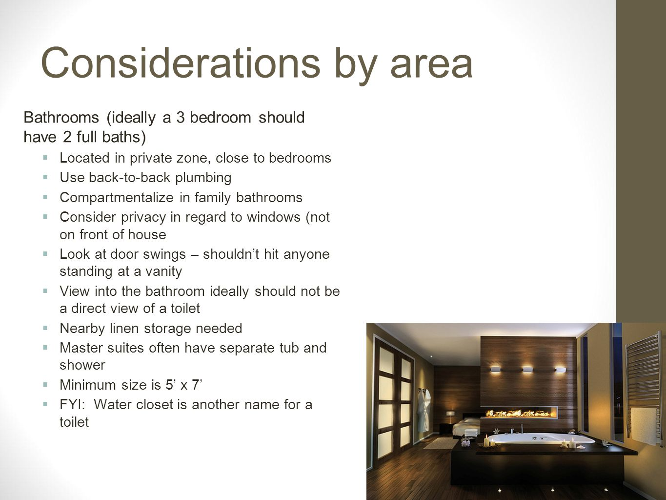 Considerations by area