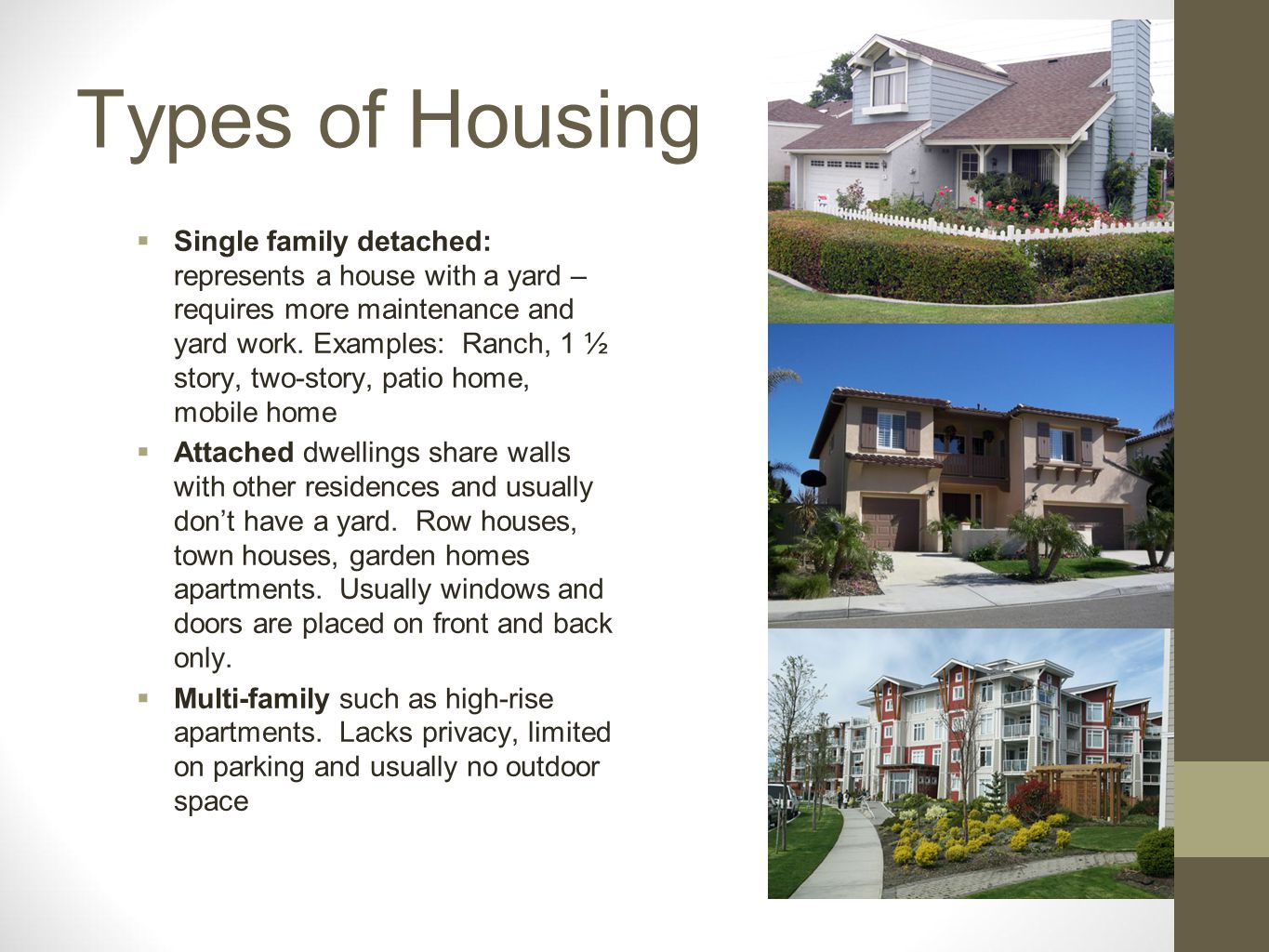 Types of Housing